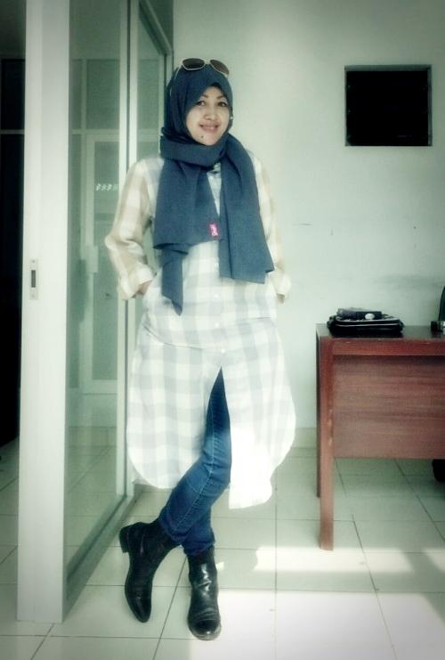 nchie hanie|baju muslim |baju kemeja berkerah| blogger bdg